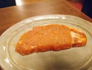 豚ロースの味噌焼き(400円)。