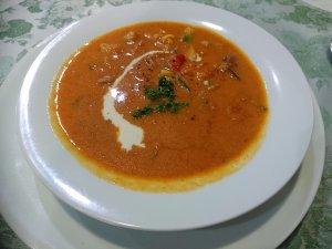 きのこと鶏のスープ(トマト味)